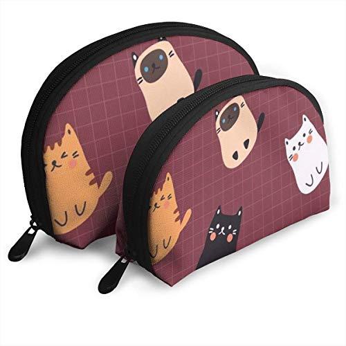 Monedero cosmético del Bolso de Embrague del Bolso de Las Mujeres Cat Bolsa de Almacenamiento en Forma de Concha con Cremallera (2 Piezas)