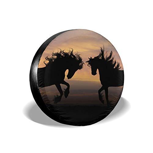Xhayo Cubierta universal de repuesto para neumáticos de caballo Silhouette At Sunset, impermeable, a prueba de polvo, para remolques, RV, SUV y muchos vehículos (negro, diámetro 14-17 pulgadas)