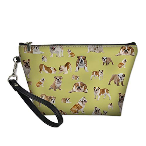 Astucci Polsole Make Up Bag Funky Cat Design in Pelle Organizzatore cosmetico per Natale, Compleanni Weddings Madri Giorno della Mamma (Color : Bulldog3)