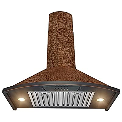 "AKDY Wall Mount Range Hood -30"" Embossed Copper Hood Fan for Kitchen - 3-Speed Professional Quiet Motor - Premium Push Control Panel - Dishwasher Safe Baffle Filters"