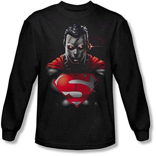 Superman - Heat Vision Homme Chargé T-shirt à manches longues, Large, Black