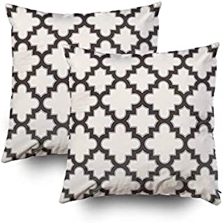 KIOAO Christmas Pillowcase Standard 2PCS 18X18Inches Square for Cushion Home Decorative, Moroccan Quatrefoil in Cream Brown Grey Pillow Covers Printed with Both Sides of Cotton