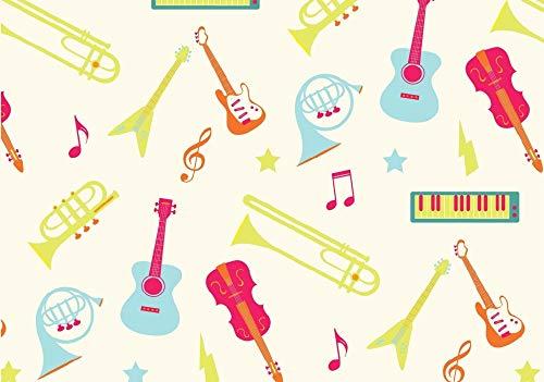 Instrumentos musicales multicolores de 1 metro, color crema, 100% algodón egipcio, instrumentos musicales, material de costura impreso, guitarras tejidas, violín, piano, costura, 112 cm de ancho