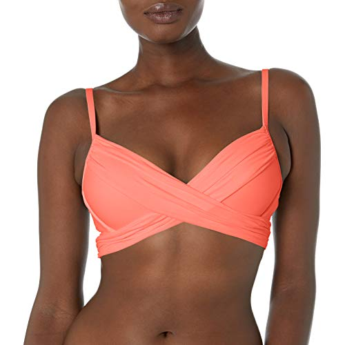 La Blanca Women's Island Goddess Wrap Underwire Push Up Bikini Swimsuit Top, Bird of Paradise, 6