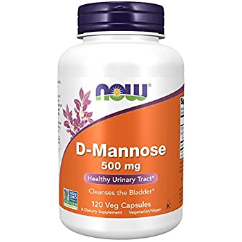 NOW Foods Supplements D-Mannose 500 mg Non-GMO Project Verified Healthy Urinary Tract 120 Veg Capsules