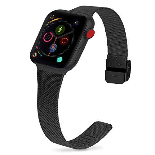 Cinturino per Apple Watch 38mm, Fullmosa Acciaio Inossidabile Cinturino in Metallo per iWatch Compatibile con Apple Watch Serie 5 4 3 2 1, 38mm Nero + Hardware Nero
