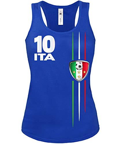 Golebros Italien Italia Italy Fussball Fußball Trikot Look Jersey Fanshirt Damen Frauen Mädchen Tank Top Tanktop Fan Fanartikel Outfit Bekleidung Oberteil Artikel