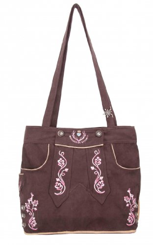 Originelle bayerische Trachtentasche Handtasche, Shopper, Strandtasche im Lederhosen-Stil und Wildleder-Optik von der Premiummarke Monaco di Bavaria (M, braun/pink)