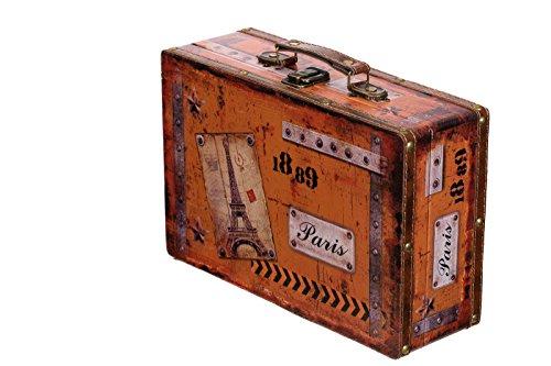 Truhe Kiste SJ 15369 Koffer , Kofferset , Holztruhe mit Leder bezogen im Vintage Look, Schatzkiste,Kiste, Piratenkiste, Kleinmöbel, Mit Metallbeschlägen, Antikoptik, Holz, verschieden Größen, Maritim, Deko, Hochwertig, Kolonialtruhe, Kolonialstil, Holzbox, Truhe mit Ornamenten . (Größe L Paris ( 31cm B x 20cm T x 10cm H ))
