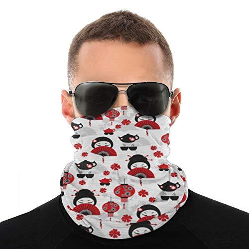 hfdff Bufanda Facial Pañuelos Suaves para Hombres Geisha con Abanico japonés Tetera China Tradicional Diseño gráfico Floral, pasamontañas para el Sol Caluroso Verano Actividades al Aire Libre