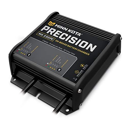 Minn Kota 1832300 MK 230 PC Precision On-Board Marine Battery Charger, 2 Bank x 15 Amps, Black