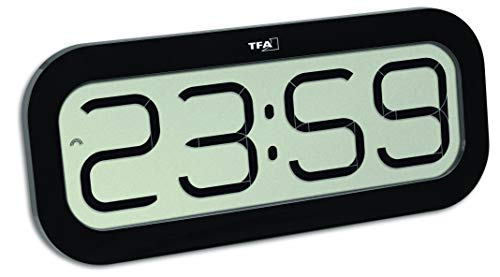 TFA Dostmann Bim Bam Funk-Wanduhr, Kunststoff, schwarz, L332 x B39 x H178 mm