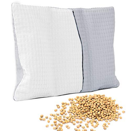 Amilian Cojín de huesos de cereza, aprox. 20 x 30 cm, cojín de calor, cojín de semillas de cereza, cojín de huesos de cereza, cojín ideal como cojín de masaje, cojín de frío, color gris y blanco
