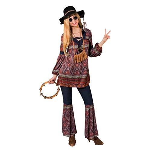 Damen Hippie Kostüm Gr. 42/44 Tunika Schlaghose Coachella Style 70er Jahre