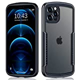 XUNDD Camera Cover Integrated Case for iPhone 12 Pro Max 5G (6.7 inch) 2020, [Military Grade Drop Tested] Frosted Clear Backshell with Shockproof Soft TPU Bumper Frame - Black