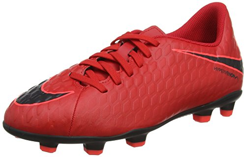 Nike Jr Hypervenom Phade III Fg, Scarpe da Calcio Unisex-Bambini, Multicolore (University Redblackbright Crimson), 36.5 EU