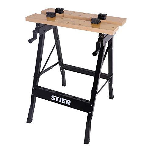 STIER Werkbank, mit Spannbacken, mobiler Arbeitstisch, klappbar, Spanntisch, platzsparend, aufgedruckte Mess- und Winkelskala, Tragkraft 150 kg