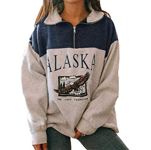 Onsoyours Mujer Sudaderas Sin Capucha Alaska Letra Impresión Pullover Suelta Casual Manga Larga Hip Hop Alto Cuello Redondo Cremallera Águila Gráfico Blusas Camiseta Top Azul L