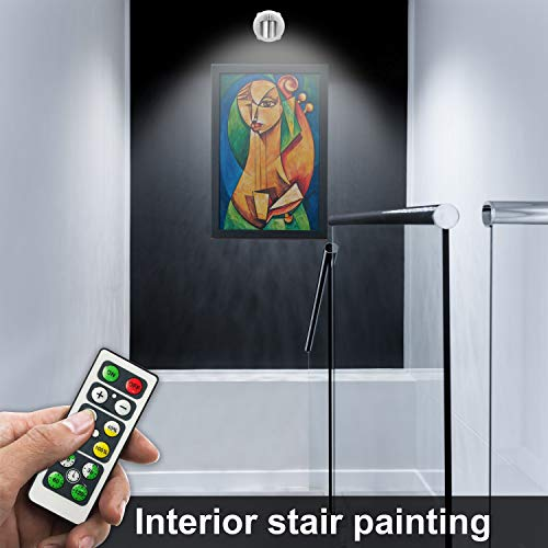 Wireless Spotlight, Battery Operated Accent Lights Art Lights for Paintings Mini Led Picture Light Puck Lights Wall Light, 4000k Light, 80 Lumens (Sliver)