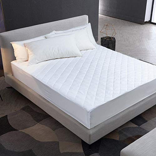 ZJXSNEH 2021 Protector de colchón Impermeable Acolchado en Relieve de Color sólido Funda de Estilo de sábana Ajustable para colchón Almohadilla Suave Gruesa para Cama,Talla 90X190+30cm