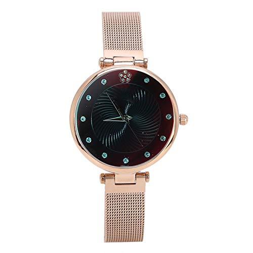 DAUERHAFT Reloj de Cuarzo de Ocio de Moda de 2 Colores, 30 Metros a Prueba de Agua, Esfera de Diamantes de imitación, Reloj de Pulsera Informal de Estilo Simple para Mujer(café)