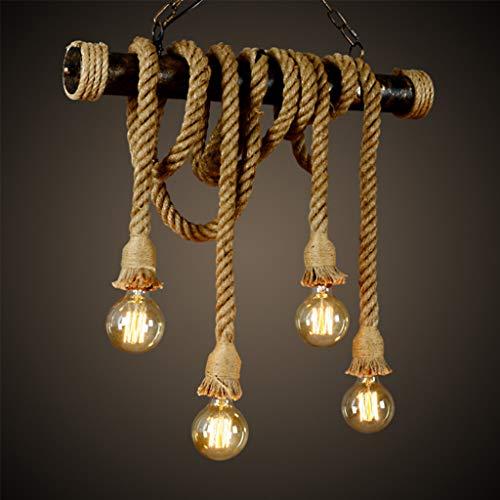 E27 Pendelleuchte Hanfseil Retro Seilleuchte Vintage Kronleuchter Eisen Pendellampe Höhenverstellbar Hängeleuchten Industrie Dekorative Licht Hängelampe Handgewebt Deckenlampe Wohnzimmer Beleuchtung