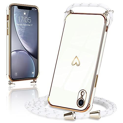 Micoden Handykette kompatibel mit iPhone X,iPhone XS Hülle Ultra dünn Kameraschutz Herz Love Design Galvanik TPU Silikon Bumper Kordel zum Umhängen Handyhülle mit Band Schutzhülle,Weiß