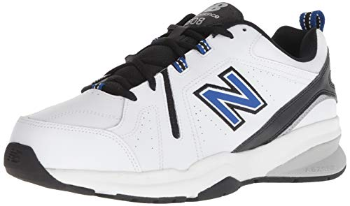 New Balance Men's 608 V5 Casual Comfort Cross Trainer, White/Team Royal, 10 M US