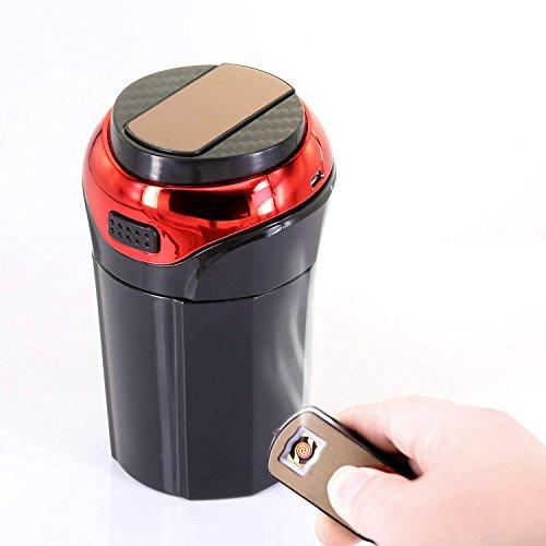 Avril Tian Auto-Aschenbecher, tragbarer Aschenbecher mit abnehmbarem, rauchfreiem Feuerzeug und blauem LED-Licht, USB-aufladbar, Auto-Aschenbecher mit Deckel rot
