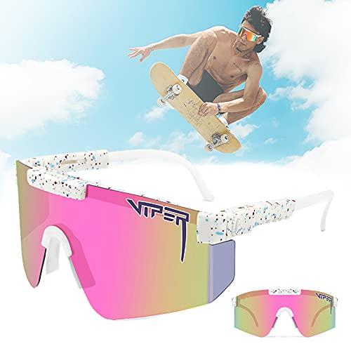CWWHY Gafas de sol deportivas, UV400 doble ancho polarizado, gafas de sol estilo deportivo, gafas de sol vintage aviador, para ciclismo, béisbol, correr, conducir, pesca, golf, esquí, C42
