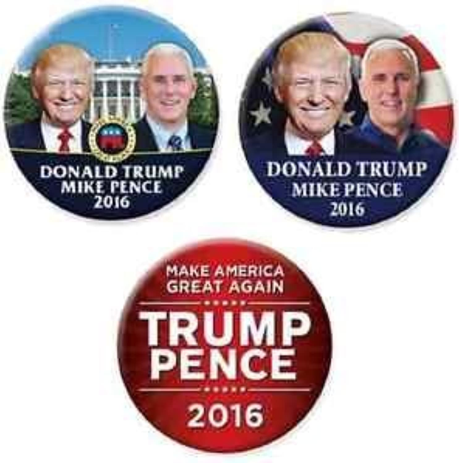 Just Released  Donald Trump Mike Pence 2016 Campaign Button Set by NEW