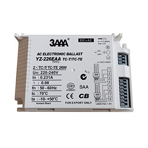 Balastro electrónico 220-240 V 3AAA YZ-226EAA con encendido instantáneo, balastro electrónico para 2XTC-T/TC-TE 26 W
