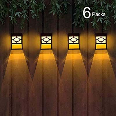 Solar Deck Lights, Outdoor Garden Decorative Fence Post Lighting, Black 6 Packs