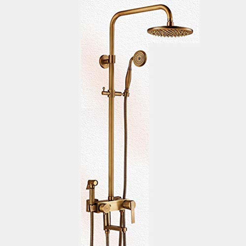 GFF Dusche Antikes Duschset Vollkupferdusche Warmes und kaltes Badezimmer für zu Hause Wandmontage Viergang-Waschduschkopf für Frauen Badewanne Dusche Mischbatterie