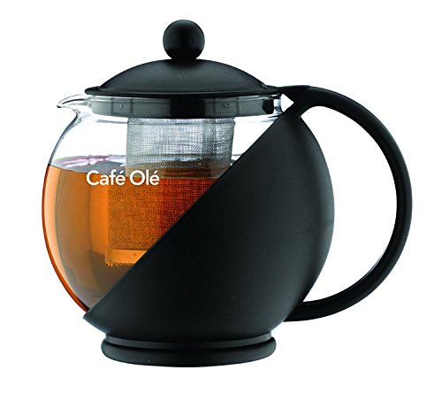 Grunwerg Café Ole Loseblatt Täglich Runde Teekanne Aufgusskorb Glasteekanne, Schwarz, 1,20 Liter