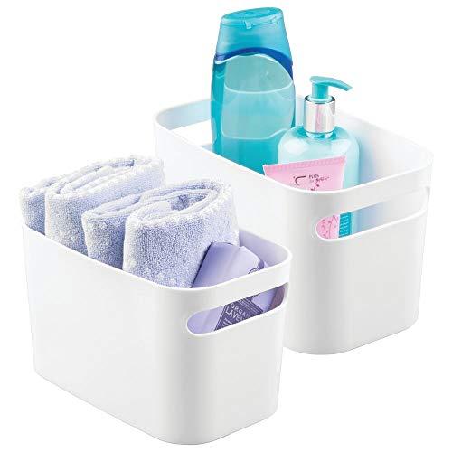 mDesign Badezimmer-Aufbewahrungsbehälter mit Griffen aus Kunststoff - Organizer für Handseife, Körperwäsche, Shampoo, Lotion, Spülung, Handtuch, Haarbürste, Mundspülung, 25,4 cm lang Pack of 2 weiß
