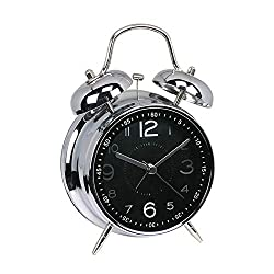 FUNRUI 4 Metal Twin Bell Alarm Clock, Retro Vintage Desk Table Bedside Silent Analog Quartz Alarm Clock for Heavy Sleepers Kids Home Bedrooms Travel School Battery Operated with Light (Black)
