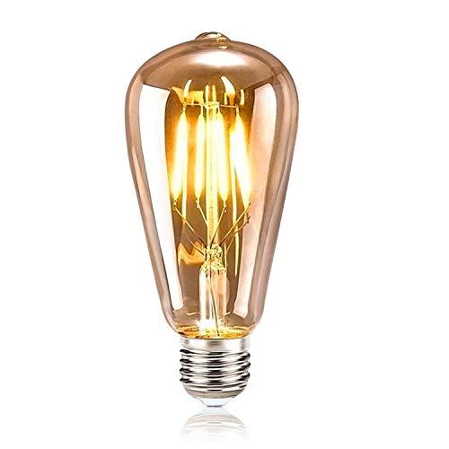 tronisky Edison Vintage Glühbirne, Retro Edison LED Lampe E27 4W Warmweiß Dekorative Glühbirne Vintage Antike Glühbirne Ideal für Nostalgie und Retro Beleuchtung im Haus Café Bar usw, 1 Stück