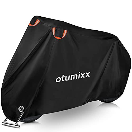 otumixx Funda Bicicleta Exterior Impermeable 210D Funda para Bicicleta con Orificios de Bloqueo y 2 Tiras Reflectantes, Impermeable/Anti-Lluvia/Polvo/Sol/Nieve (200 x 70 x 110 cm)