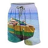 KOiomho Hombres Personalizado Trajes de Baño,Cuadro Barco pesquero haitiano,Casual Ropa de Playa Pantalones Cortos