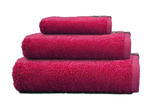 Cabetex Home - Juego de Toallas 100% Algodón Peinado - 550 Gr/m2 - Tres Piezas - Toalla de baño, Lavabo y Tocador (Fucsia)