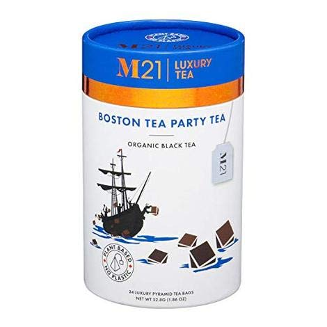 M21 Luxury Tea Boston Tea Party Black Tea – 24 Luxury Pyramid Teabags – Compostable and Biodegradable. 100% Plant Based. No Plastic. Certified VegeCert Vegan. Container made from 100% Recycled Paper.