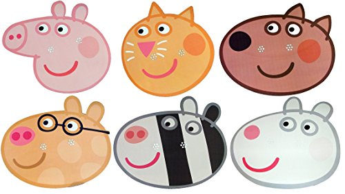 Kids Stars Peppa Pig - Multipack - 6 Masque de Visage Fait en Carte Rigide - Candy Cat, Danny Dog, Pedro Pony, Peppa Pig, Suzie Sheep et Zoe Zebra