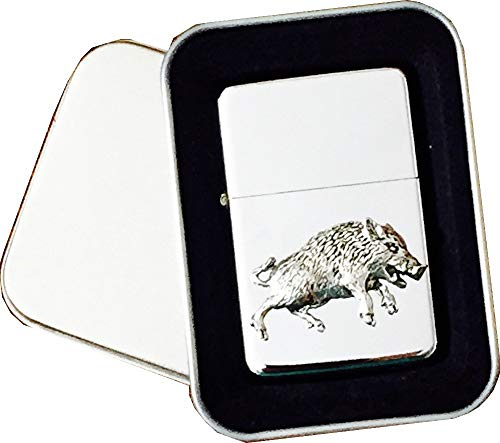 Chrome Star accendino con emblema Pewter Labrador Dog, completo di metallo regalo di latta