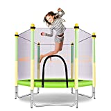 MOLANEPHY 5 FT Kids Trampoline with Safety Enclosure, Indoor or Outdoor Trampoline for Kids, Yellow and Green