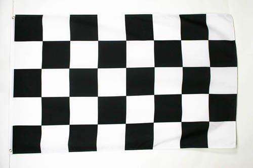AZ FLAG Bandera A Cuadros Negros Y Blancos 150x90cm - Bandera DE Carreras AUTOMOVILES - Negro Y Blanco 90 x 150 cm poliéster Ligero