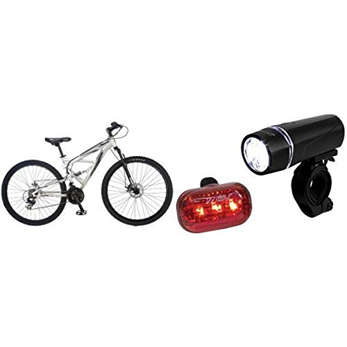Mongoose Impasse Dual Full Suspension Bicycle (29-Inch) and BV Bicycle Light Set Super Bright 5 LED Headlight, 3 LED Taillight, Quick-Release Bundle