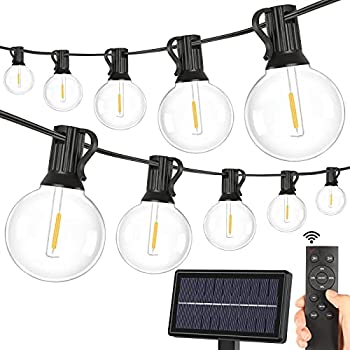 2-Pack Solar G40 Dimmable String Lights with Remote Controls 100FT 3 Light Modes Outdoor Waterproof LED Globe Hanging Lights with Shatterproof 50+2 Edison Bulbs for Patio Balcony Porch Party Backyard
