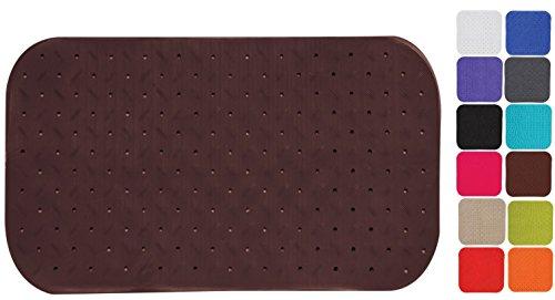 MSV Premium Duschmatte Badematte Badewannenmatte Badewanneneinlage antibakteriell rutschfest mit Saugnäpfen - Braun - duftet nach Rosen - ca. 36 x 65 cm - waschbar bei 60° Grad