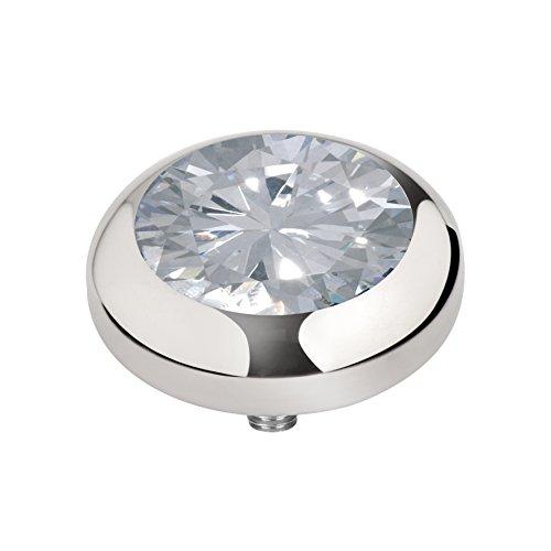 MelanO Vivid zum draufschrauben Aufsatz / Fassung 5 mm Edelstahl mit Zirkonia in Farbe kristall M01SR 9011